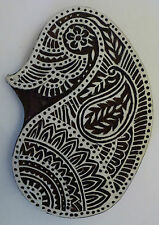 Paisley Shaped 14.5cm Indian Hand Carved Wooden Printing Block (PA81)