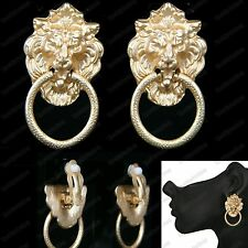CLIP ON EARRINGS lion MATTE GOLD TONE vintage retro chunky DOOR KNOCKER hoops