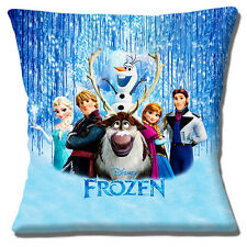 "FROZEN Cushion Cover Disney Olaf Sven Elsa Anna Wood 16"" Pillow Cushion Cover"