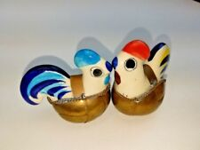 Ceramic Roosters Chicken Figurines Circle eyes Brass Basket Italy Style Lot of 2