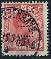 Denmark Perfin M20-M.J.M.: A/S M. J. Meyer (1914-1921), 10 ore carmine, RF: 300