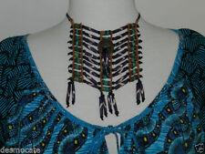 Turquoise Wood Statement Fashion Necklaces & Pendants
