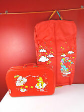 Vintage Care Bears Red Vinyl Suitcase & Garment Bag American Greetings Corp.