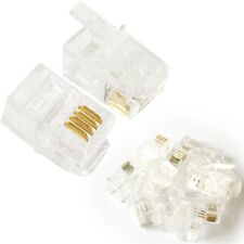10x 4P4C RJ9/RJ10/RJ22 Cable Crimp Connector Plugs - Telephone Contact/Pin End