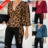Women Ladies V-neck Puff Sleeve T-shirt Leopard Printed Warp Tops Casual Blouse
