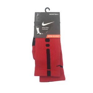New Nike Big Boys Socks Elite Crew Basketball Cushioned Red Choose Size