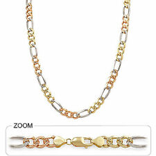 "8.50mm 24"" 65.00 gm 14k Gold Solid Tri Color Men's Heavy Figaro Chain Necklace"