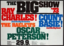 RAY CHARLES COUNT BASIE OSCAR PETERSON 1973 German A1 concert poster NM