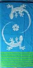 LIZARD BLUE GREEN STRIPE JUMBO BEACH TOWEL 100% EGYPTIAN COTTON 90cm x 170cm