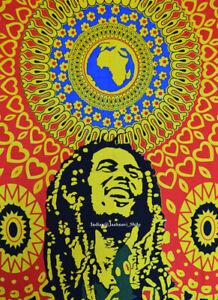 "Ethnic Indian Cotton Bob Marley Mandala Poster 30x40"" Throw Hippie Wall Hanging"