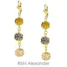18k Gold Filled Tri-Color Crystal Dangle Earrings Handmade in Brazil