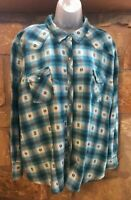 Bit & Bridle Plaid Flannel Western Shirt Sz 2X Pearl Snaps Ranch Cowgirl Rodeo