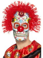 DAY OF THE DEAD CLOWN MASK WITH RED HAIR UNISEX HALLOWEEN HORROR NEW LIGHWEIGHT