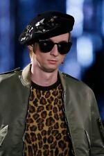 NWT SAINT LAURENT Paris LEOPARD Print MOHAIR Blend Schoolboy Sweater XS