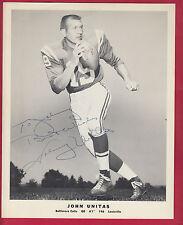 RARE 1964 Johnny Unitas Baltimore Colts Team Issue 8 x 10 Autographed photo JSA