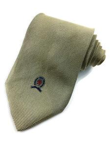 "Tommy Hilfiger Men's Neck Tie Gold Horizontal Striped Pattern 100% Silk 56"" x 4"""