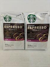2 Bags Starbucks Espresso Dark Roast Ground Coffee 12 Oz Each.