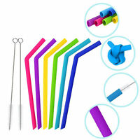 6x Straws Reusable Silicone Drinking Straw Cleaning Brushes Food grade