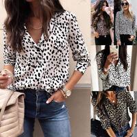Women V Neck Plus Size Leopard Print Long Sleeve Loose T Shirt OL Tops Blouse