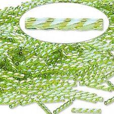 Spiral Bugle Bead 12MM Rainbow Light Green 100 Beads