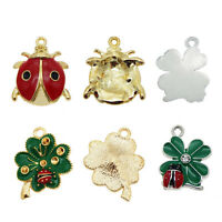 12pcs/lot Jewelry Making Enamel Colorful Alloy Ladybug Clover Pendants Charms