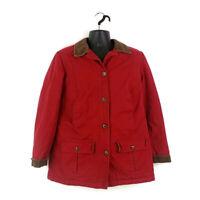 LL Bean Womens sz S Red Button Front Barn Chore Coat Corduroy Trim