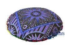 "28"" Multi Sun Moon Mandala Floor Pillow Cover Hippie Round Cushion Covers Throw"