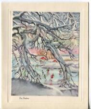New listing VINTAGE CHRISTMAS SNOW GLITTER TREES ICE SKATERS SKATING POND HOUSE DUSK CARD