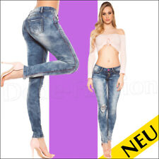 NEU 🌸 Sexy Skinny Jeans PINK Nähte Style Destroyed Used DENIM 🌸 36 38 40
