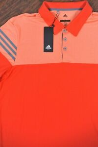 NWT Adidas Golf Polo Shirt Orange Stripe Block Men's Large L