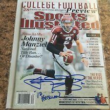 Johnny Manziel Signed Sports Illustrated No Label Football Heisman Texas A&M