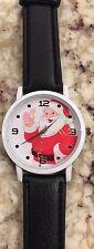 Children's Vintage Girl/Boy Santa Clause Wrist Watch Cute!  Black Band