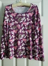 Purple Multicolor Floral Casual Tee Top ~ Women's Tagged XXL, Fits  XL