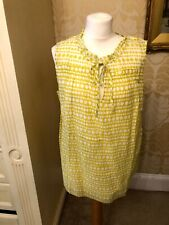 New BODEN Pretty Cotton Summer Yellow Patterned Top Sleeveless Tie Neck 18 20