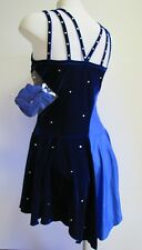 ICE SKATING DRESS Competition Figure Skate Two Blues w Crystals Larger Fit L AL