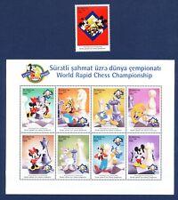 AZERBAIJAN - #678A-681 - VF MNH set & S/S - Disney Chess, Mickey Birthday 1998