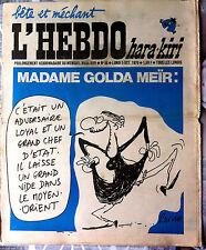 L'Hebdo Hara Kiri n°88 du 5/10/1970; Madame Golda Meïr / Reiser