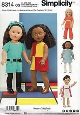 """18"""" DOLL RETRO LOOK CLOTHES SIMPLICITY SEWING PATTERN 8314 fits American Girl"""