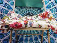 Indian Handmade Bird Kantha Quilt Block Print Bedspread White Queen Size Kantha