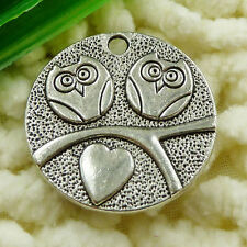 Free Ship 35 pieces tibetan silver owl charms 25mm #1573