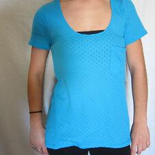ROXY Flash Womens Blue Sheer Polka Dot Tunic T Shirt Top Size MEDIUM NWT