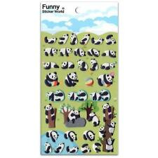 CUTE PLAYING PANDA STICKERS Animal Puffy Vinyl Raised Sticker Sheet Scrapbook