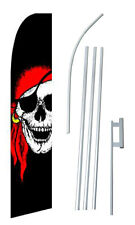 Pirate Jolly Roger Advertising Banner Flag Complete Tall Sign Kit 2.5' wide