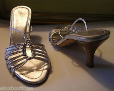 LAMBERTSON TRUEX Leather SHOES Silver Strappy Sandals Pumps Heels Mule 7 6.5 NEW
