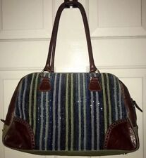 Isabella Fiore Beaded Blue Green Brown Leather Frame Purse Shoulder Large Bag
