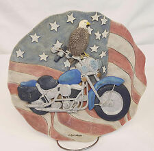 Spoontiqes MOTORCYCLE WITH EAGLE Round Stepping Stone Wall Plaque #5083 MINT