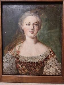 Huile sur toile 19 ème siècle femme bourgeoise tableau ancien old painting 66/54