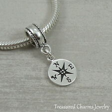 .925 Sterling Silver COMPASS Nautical Dangle Bead CHARM fits EUROPEAN Bracelet