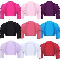 Girls Casual Ruched Sleeve Shrug Kids Plain Bolero Top Cropped Cardigan 2-14 Y