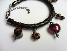 Steampunk style hand made original leather bracelet - (glass heart) - FREE P&P